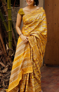 Dapper Yellow Color Designer soft Silk Saree SC-9111