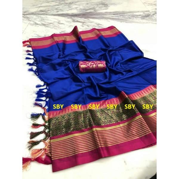 Fabulous Blue And Pink Color Designer Silk Saree