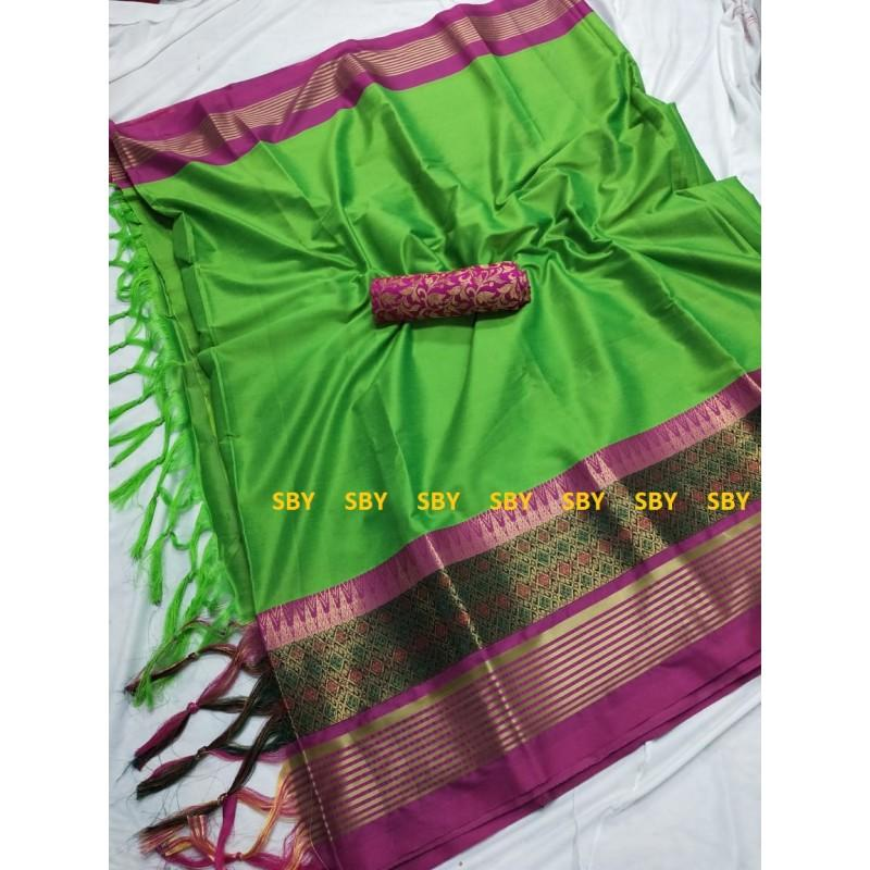 Charming Green And Pink Color Designer Silk Saree