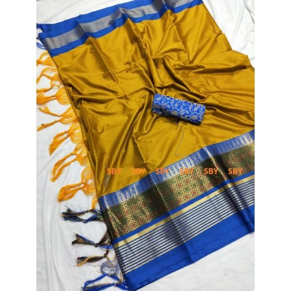 Eye Catching Mustard And Blue Color Designer Silk Saree