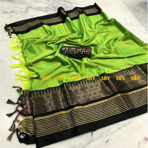 Appealing Green And Black Color Designer Silk Saree