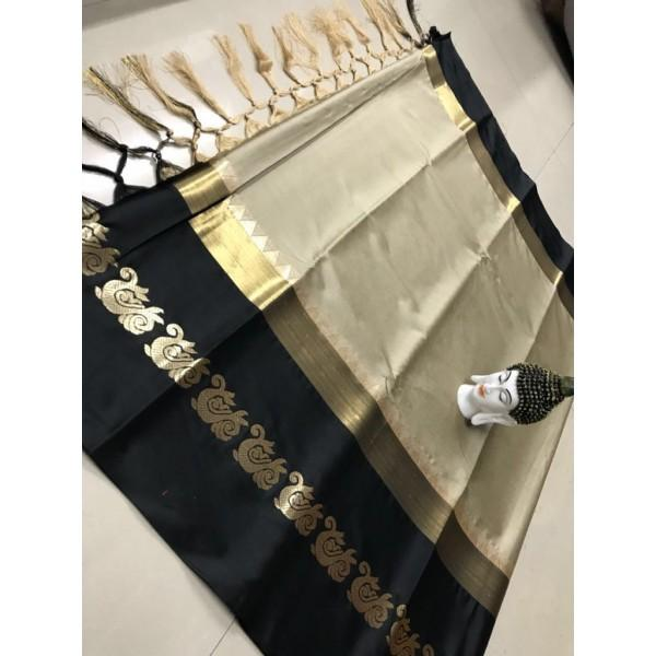 Glorious Beige And Black Color Silk Designer Saree