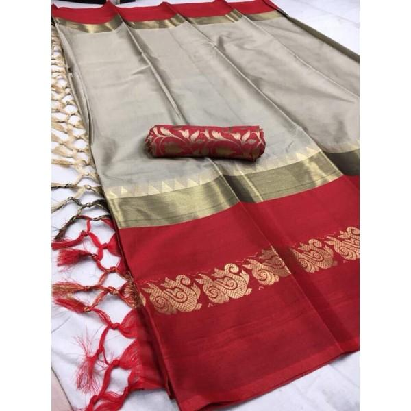 Modish Beige And Red Color Silk Designer Saree