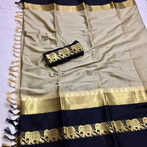 Admirable Beige Color Designer Cotton Silk Saree