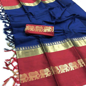 Captivating Blue Color Designer Cotton Silk Saree