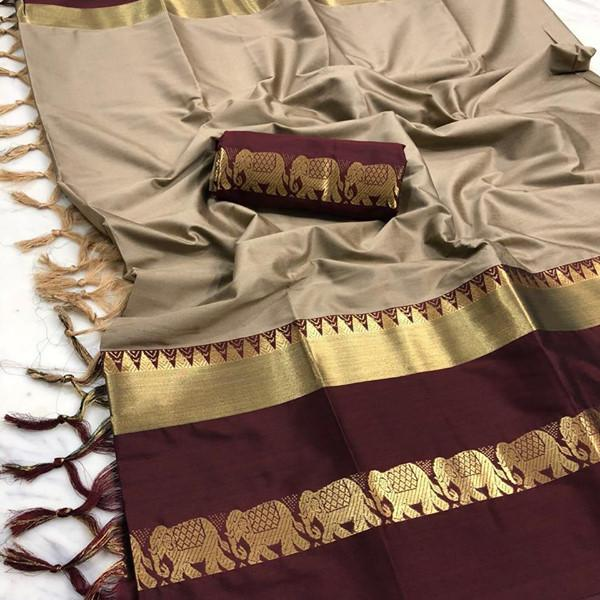 Dapper brown Color Designer Cotton Silk Saree