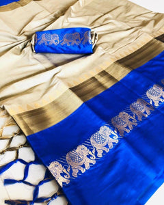 Flattering chiku blue Color Designer Cotton Silk Saree
