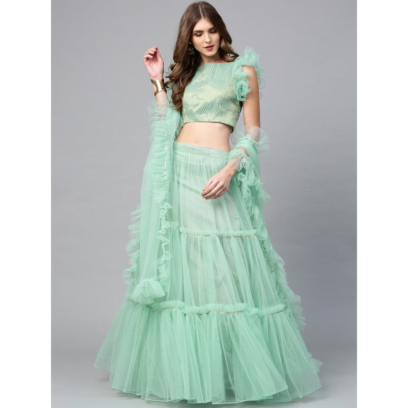 Sea Green & Golden Woven Design Semi-Stitched Lehenga Choli with Dupatta