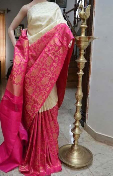 Recent White n Pink Color Soft Silk Designer Sarees FN705