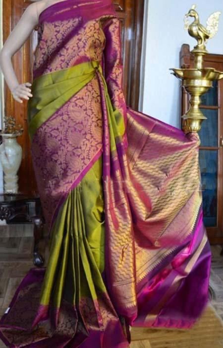Gorgeous Green N Pink Color Soft Silk Designer Sarees FN905