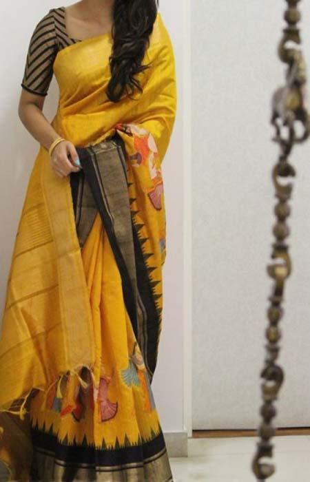 Fabulous Yellow Color Soft Silk Designer Sarees FN956