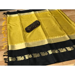 Eye Catching Gold And Black Color Silk Designer Saree