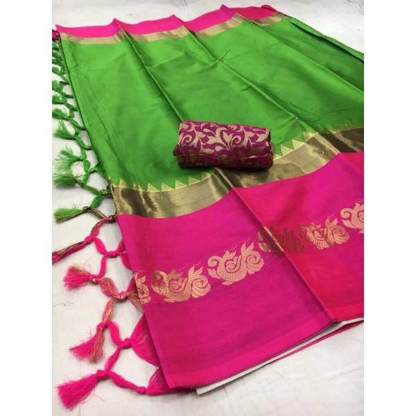 Blooming Green And Pink Color Silk Designer Saree