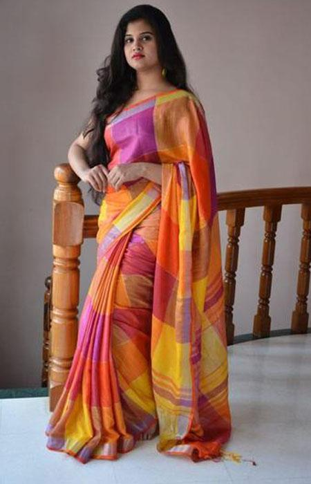 Dapper Multi Color Linen Designer Digital Print Saree LN8004