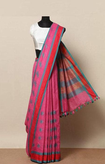 Heavenly Hot pink Color Linen Designer Digital Print Saree LN8008