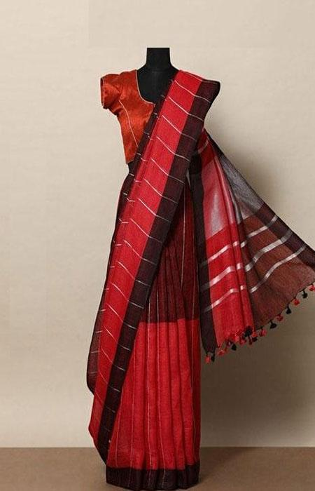 Fabulous Red Color Linen Designer Digital Print Saree LN8009