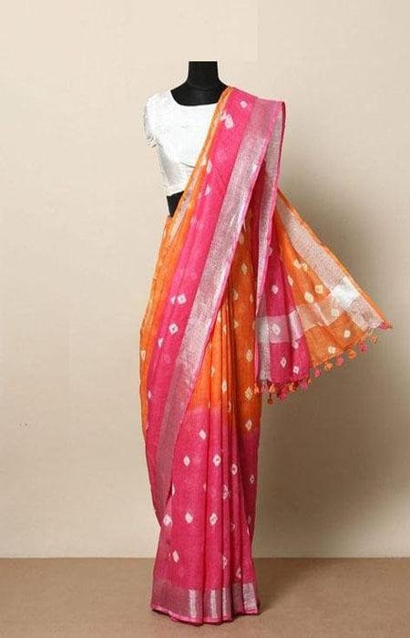 Jazzy Pink and Orange Color Linen Designer Digital Print Saree LN8010