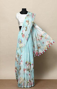 Sophisticated Blue Color Linen Designer Digital Print Saree LN8041