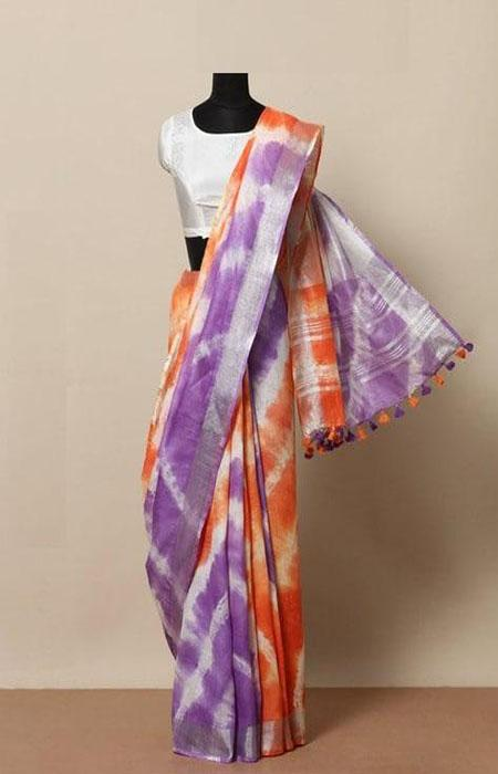 Dreamy Blue and Orange Color Linen Designer Digital Print Saree LN8056