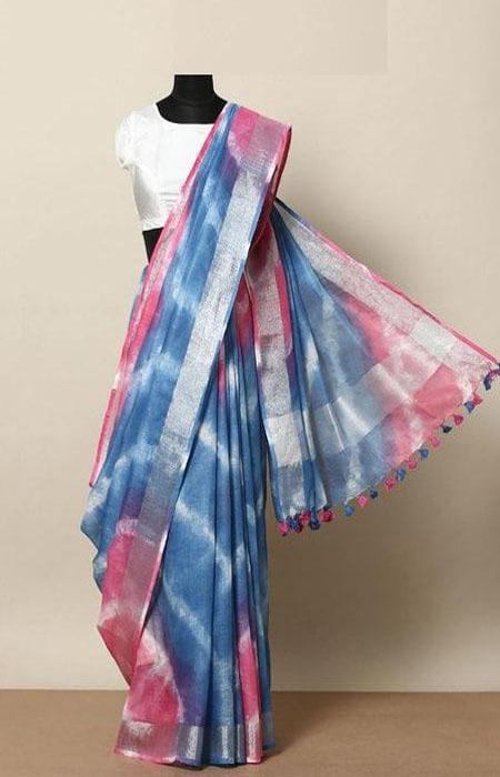 Graceful Blue and Pink Color Linen Designer Digital Print Saree LN8057
