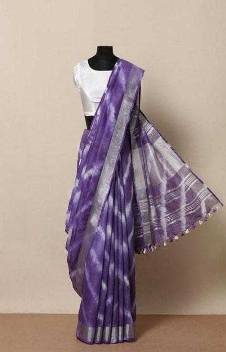 Entrancing purple Color Linen Designer Digital Print Saree LN8058