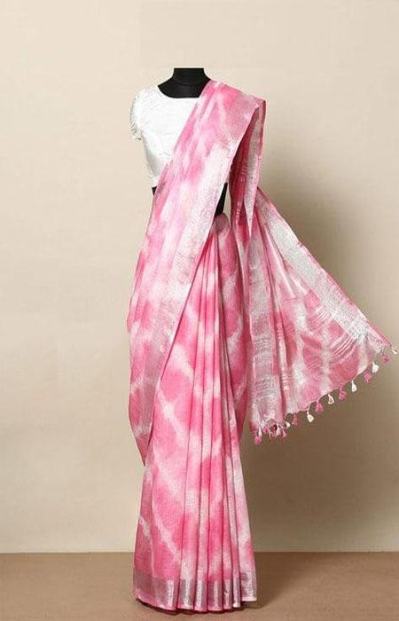 Invigorating Pink Color Linen Designer Digital Print Saree LN8059