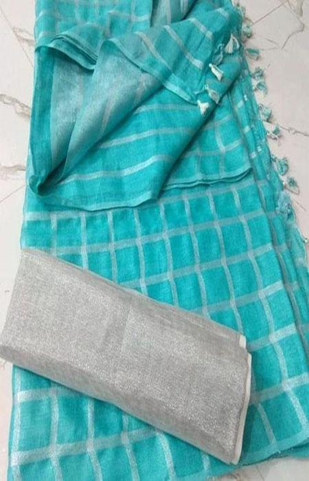Incomparable Blue Color Linen Designer Digital Print Saree LN8076