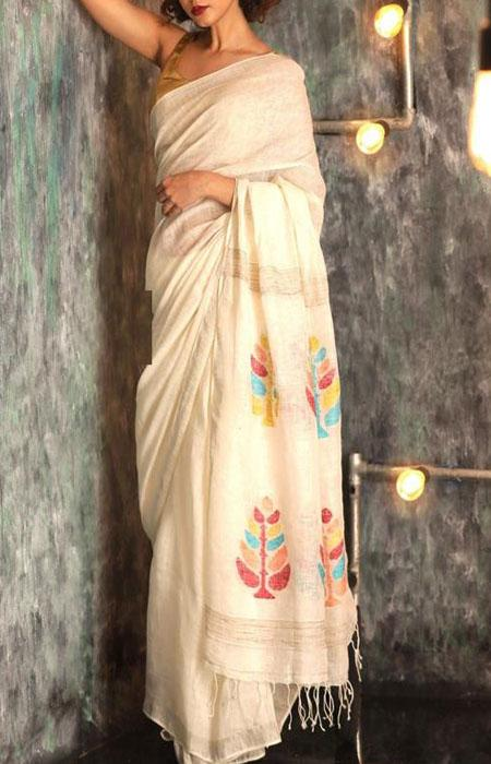 Mind Blowing White Color Linen Designer Digital Print Saree LN8096
