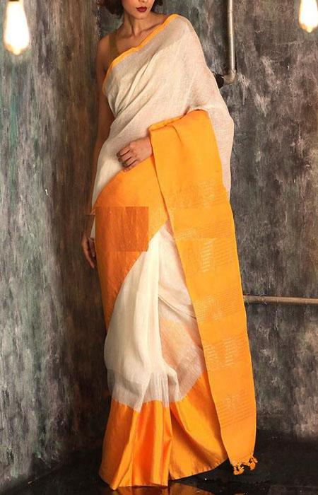 Vivid Orange and White Color Linen Designer Digital Print Saree LN8097
