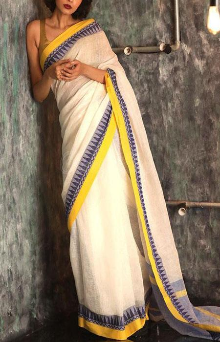 Pleasurable Yellow and White Color Linen Designer Digital Print Saree LN8098