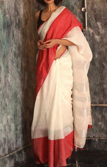 Rosy Red Color Linen Designer Digital Print Saree LN8099
