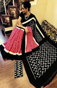 Fantastic Black and Pink Color Linen Designer Digital Print Saree LN8100
