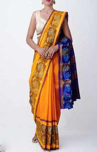 Engrossing Yellow and Blue Color Linen Designer Digital Print Saree LN8101