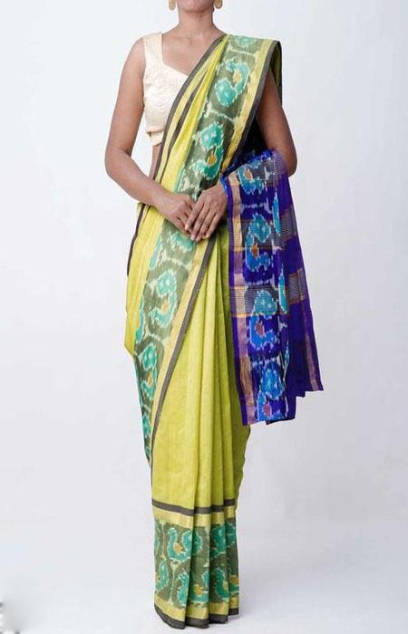 Exceptional Green and Blue Color Linen Designer Digital Print Saree LN8102