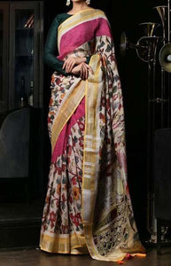 Superior Multi Color Linen Designer Digital Print Saree LN8303