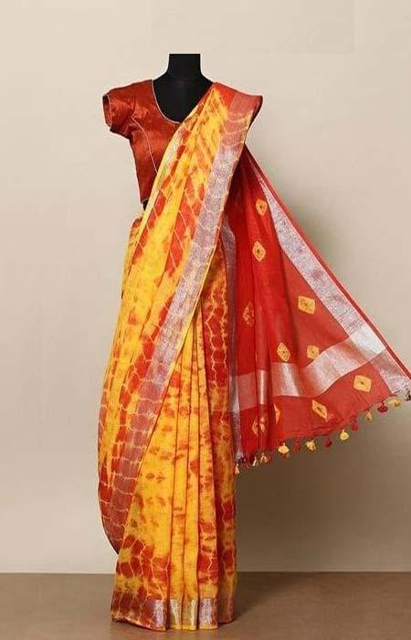 Delicate Yellow and Red Color Linen Designer Digital Print Saree LN8306