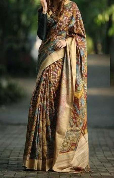 Glorious Gold and Black Color Linen Designer Digital Print Saree LN8309