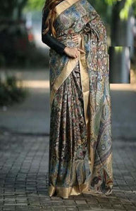 Impressive Blue and Gold Color Linen Designer Digital Print Saree LN8310