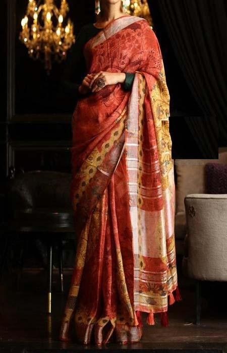 Visionary Red Color Linen Designer Digital Print Saree LN8315
