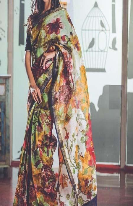 Enegretic Multi Color Linen Designer Digital Print Saree LN8323