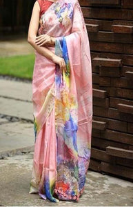 Fashionable Pink Color Linen Designer Digital Print Saree LN8324