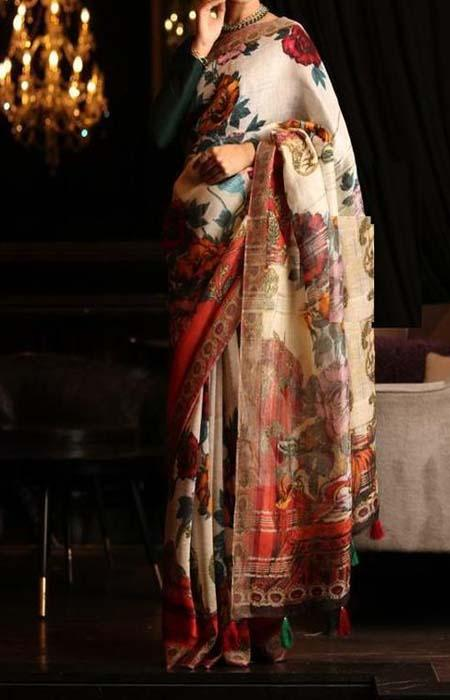 Perfect Multi Color Linen Designer Digital Print Saree LN8327