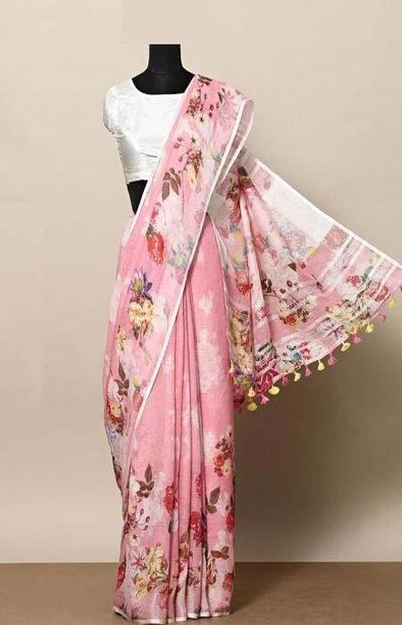 Stylish Pink Color Linen Designer Digital Print Saree LN8330