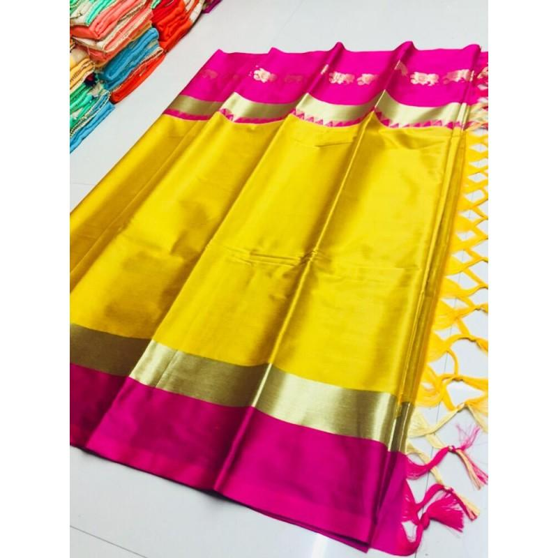 Amazing Mustard And Pink Color Silk Designer Saree