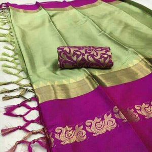 Charming Pista And Wine Color Silk Designer Saree