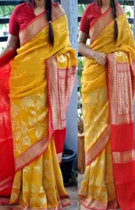 Imposing yellow and orange Color Designer Soft Silk Saree SC3033