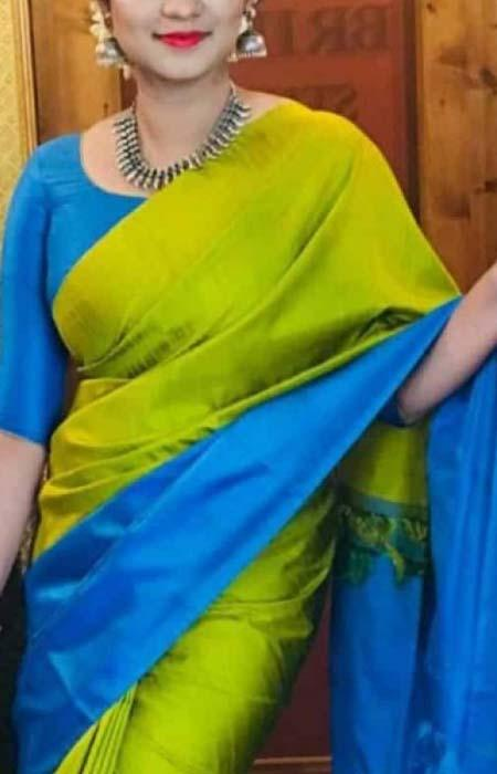 Enegretic Blue And Yellow Color Designer Soft Silk Saree SC3069