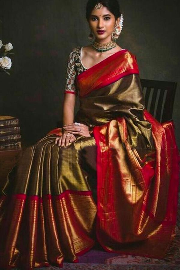 Admirable  Red And Copper Color Soft Silk Designer Sarees KKBN7284