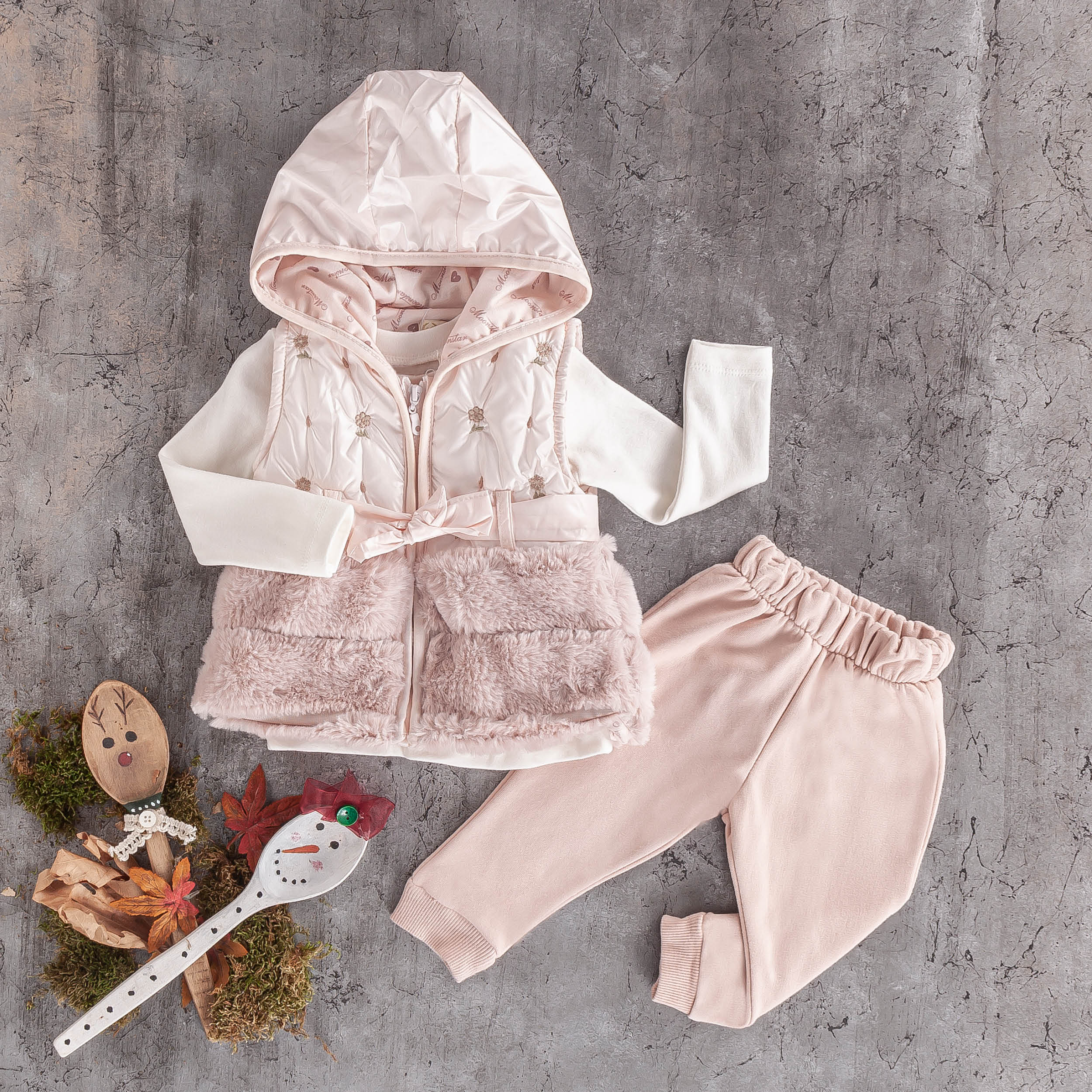 3 PC girls kids Hoodie fur jogger jogging set