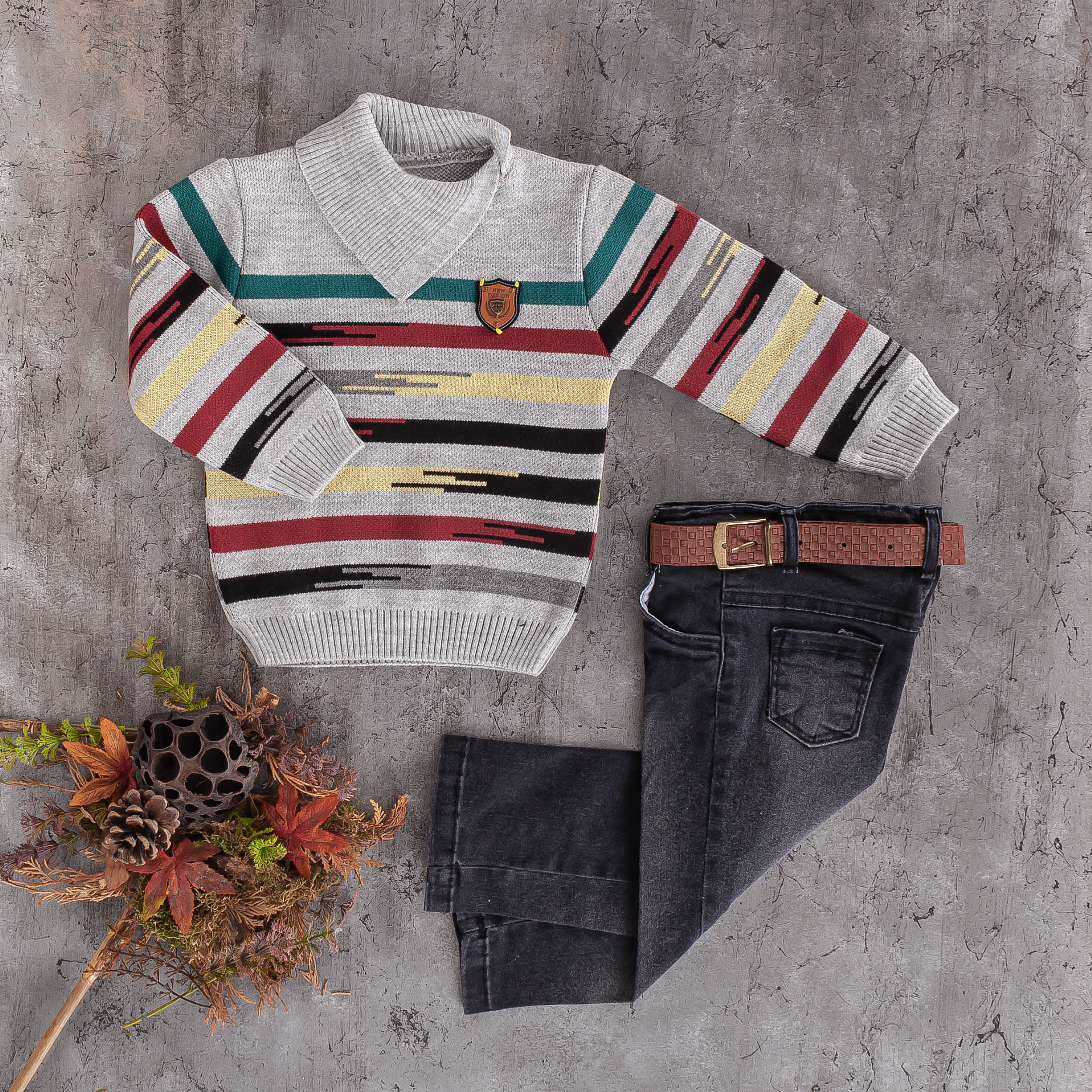 boys kids wool sweater knit jeans 2 pc set